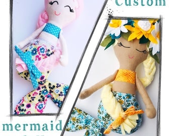 CUSTOM MERMAID DOLL, handmade cloth doll, heirloom toy, mermaid rag doll, create your own, girl stuffed animal, mermaid keepsake, love doll