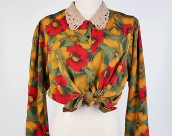 Vintage Blouse, Red Yellow Green Brown Flower Flora Print Carved Flat Lace Cutout Collar, Long Sleeves Women Blouse Size S-M, 1970s