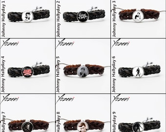 """Bracelet shamballa """"Johnny Hallyday"""" braided leather with Chunk, Snap Button, charm, chunk, Candy Snap Charm Jewelry, Noosa Style"""