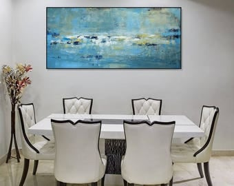 Large Abstract Art Seascape Canvas Art/Large Blue And Green Wall Art Canvas /Modern