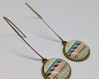 Earrings dangling cabochons - ethnic - geometric shapes