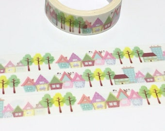 colorful house washi masking tape 5M fairytale hut house tree scenes little house village landscape sticker tape housewarming gift decor