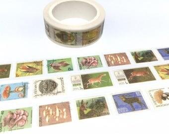 vintage stamp washi tape 8M x 1.5cm animal wild animal wild plant deer horse world postage stamp label sticker tape traveller gift idea 2018