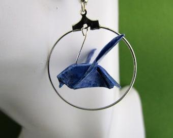 Origami birds earring, origami birds, bird earrings, origami earrings, blue bird earrings, paper birds, paper dove, paper jewelry