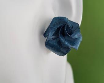 Paper flower jewellery, paper earrings, paper flower, paper jewellery,  flower jewellery, rose earrings studs, blue rose, blue rose earrings