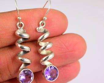 Amethyst Earrings, Sterling Silver Earrings, Purple Amethyst Dangle Earrings, Gemstone Earrings, Amethyst Jewelry, 925 Silver Womens Jewelry