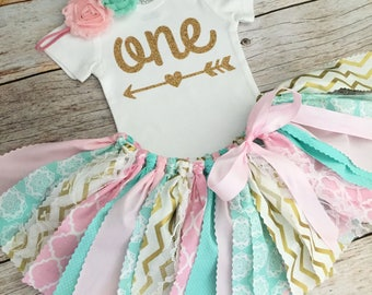 Mint, Pink and Gold Birthday Outfit with Headband, First Birthday Outfit/Fabric Tutu/Baby Girl