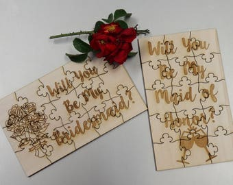 Will You Be My Bridesmaid Wooden Puzzle - Wedding Party Maid of Honor Bride Gift