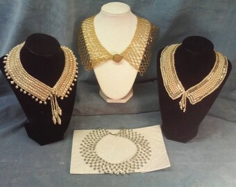 Vintage Pearl and Bead Ladies Fashion Collars, Grouping of four