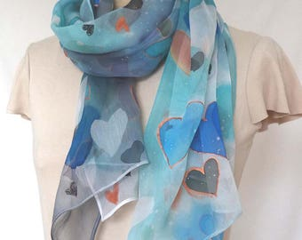 HEARTS HAND PAINTED Silk scarf, crinkle silk chiffon,royal blue, white, gold turquoise, green, gold hearts all over light sheer scarf