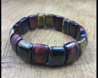 Gemstone Yoga Root Chakra Cuff Bracelet Tiger Eye Protecting Confidence 18cm