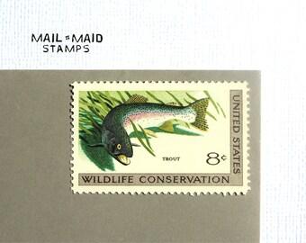 Wildlife Conservation - Trout || Set of 10 unused vintage postage stamps