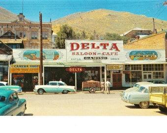 Virginia City Nevada Postcard Old Delta Saloon Gambling Palace Travel Souvenir Mid Century Cars Unposted