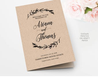 Wedding Program Printable, Rustic Laurels Ceremony Program Template, Kraft Program, INSTANT DOWNLOAD, Fully Editable, Digital #023-105WP