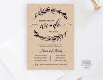 Rustic Wedding Rehearsal Invitation, INSTANT DOWNLOAD, Printable Rehearsal Dinner Invite, Fully Editable Template, Digital #023-101RD