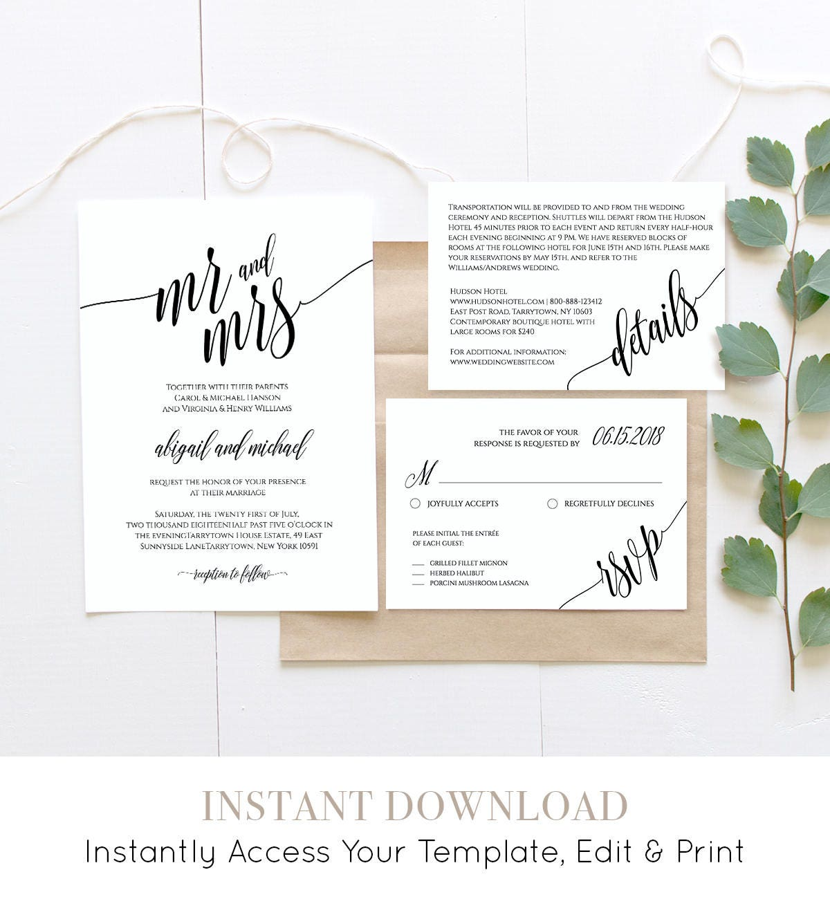 Wedding Invitation Template, Instant Download, Rustic Modern ...