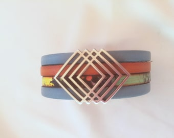 Multicolor blue orange leather Cuff Bracelet