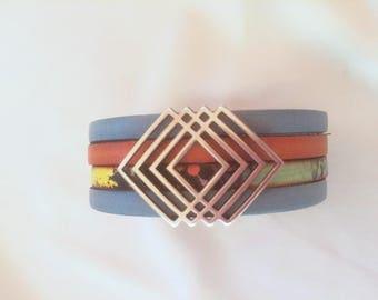 Multicolor blue orange leather Cuff Bracelet