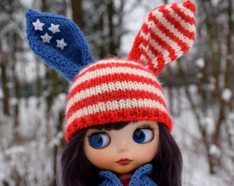 Blythe Clothes Bunny hat Doll  Blythe Outfit Rabbit Beanie for Blythe Hat Patriotic Red White Blue USA Flag Hat Easter Gift 4th of July
