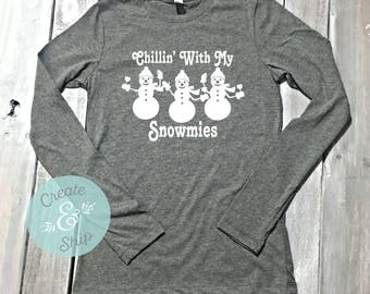 Chillin' With My Snowmies Long Sleeve Shirt, Christmas Shirts, Christmas Party, Funny Christmas Shirt, Wine Shirt, Wino, Graphic Tee