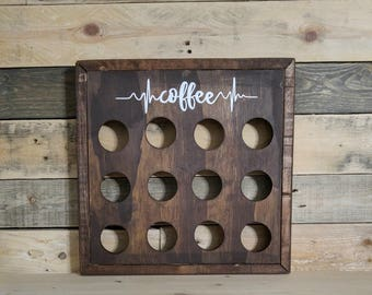 Rustic Wood Coffee Pod Storage | K Cup Holder | Coffee Station | Farmhouse Style | Coffee Heartbeat