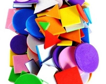 Craft Foam Self Adhesive 100 pieces Assorted Colours and Shapes