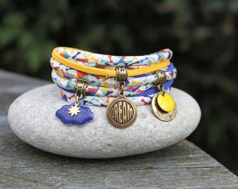 Liberty bracelet dancing kites 2 turns dream _ _ Yellow blue bronze _ Cloud Sky Sun bracelet