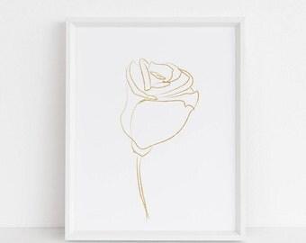 Printable wall art, Wall art prints, minimalist art print, Chic, Gold, Rose art print, elegant, nordic, scandinavian, farmhouse decor