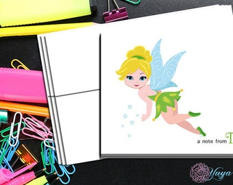 Fairy  Notes / Custom girl tinker Stationery / Girl fairy princess Stationery Set / Girl Thank You Cards / Set of 12 Kid Notes