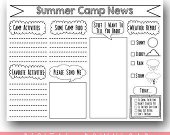 PRINTABLE Camp Stationary / Camp Stationery Print Your Own / Printable Summer Camp Stationary / Letter From Camp DIY / Instant DOWNLOAD