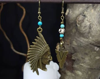 Navajo Spirit - Indian head - arrow - turquoise - bone - nature - sioux - Native American - spirit - nomadic - Bohemian earrings