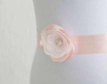 Blush Pink Flower Bridal Sash, Pale Pink Sash, Bridal Gown Sash, Blush Pink Belt, Pink Flower Belt, Wedding Dress Sash, Formal Dress Sash