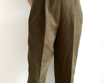 Vintage 80s Olive Green High Waisted Trousers with Metal Buckle, size 27 28