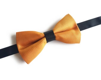 "Orange Silk Pre Tied Bow Tie ""Lorentz"", Best Handmade Gift For Men, Weddings, Birthday, Valentines Day"