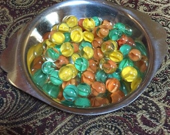 53 Cat Eye Marbles - Orange, Yellow, and Green