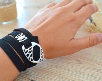 Boho Grey/Black Leather Wrap Teardrop Clasp Bracelet Jewelry, Modern Hippie Style Jewelry, 4 Times Wrap Bracelet, Bohemian Wrap Jewelry