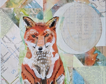 "Fox, Woodland, Moon, Crescent, Collage, Whimsical - ""Fox and Moon"" Acrylic Painting & Mixed Media on scrap wood"