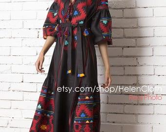 Vyshyvanka Embroidered Dress Black Linen Ukrainian Mexican Kaftan Abaya Caftan Free Shipping Boho Style Dark Clothing Flax Shirt rty