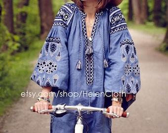 Bohemian Linen Vyshyvanka Dress With Pockets. Boho Style. Ukraine Dress Tunic. Ethnic Embroidery. Mexican Dress. Free shipping