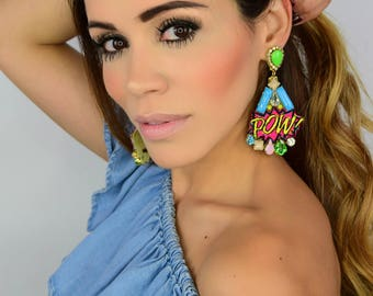 Pow Patches Earrings, Super Hero Earrings, Comic Earrings, Pow Earrings,Girl Power Jewelry,Patch Earrings,Statement Earrings,Dangle Earrings