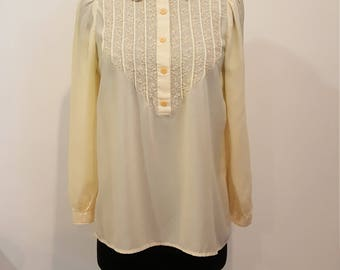 Vintage Yellow Cream Floral Embroidered Petal Collar Blouse, Size M