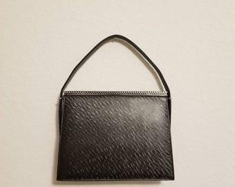 Vintage 40s Silver Gray Art Deco Andrew Geller Designer Purse