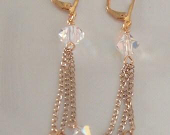 Swarovski Crystal CRYSTAL TASSEL Earrings-Sparkle!!