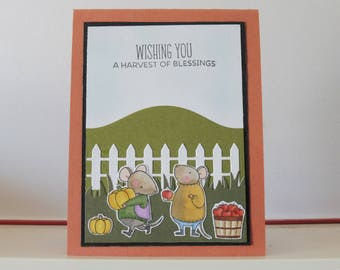 Harvest card - Mouses card - Blank double greeting card - Hand colored - Main card color is ochre