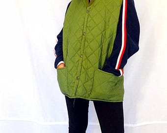 Green quilted vest jacket size Large womens quilted vest puffed vest puffy horse riding equestrian sleeveless jacket vintage