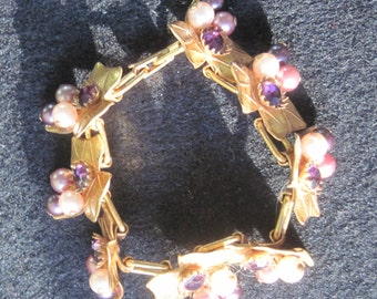 Vintage Gold Metal Bracelet-Leaves with Amethyst Crystal and Faux Pearl Accents