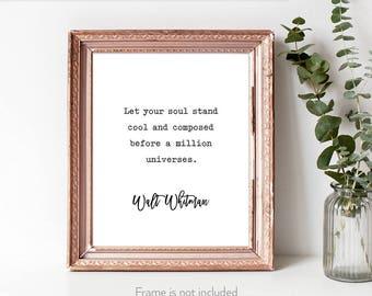 Walt Whitman gifts / Walt Whitman quotes / Walt Whitman wall art / Song of myself / Leaves of Grass poem /
