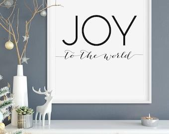 "Christmas PRINTABLE Art ""Joy to the World"" Print, 16x20 8x10 Modern Minimalist Quote Wall Art, Winter Holiday Seasonal Digital Download"