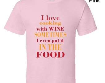 Funny cooking t shirt,chef t shirt,wine lover tshirt,funny mum t shirt,keep calm and bbq t shirt,camping t shirt,cooking with wine t shirt