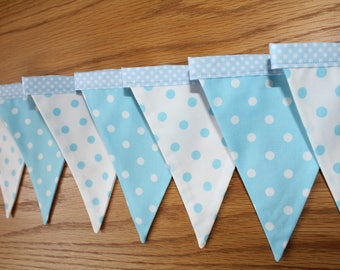Blue polka dot bunting, 2m, blue and white bunting, blue nursery bunting, blue nursery banner